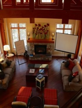 Plan your muskoka business retreat. The Great Room at Muskoka Soul The Lake House is an inpsiring space for any business retreat