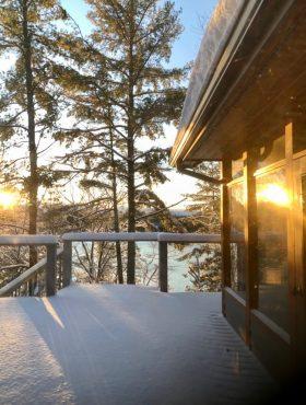 Winter Sunrise on Lake Muskoka in Cliff Bay from Muskoka Soul an extraordinary 4-season rental escape for family groups in Gravenhurst Ontario