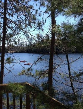 Kayak or canoe in Cliff Bay on Lake Muskoka, just out the door from our luxury cottage rental Muskoka Soul Cliff Bay