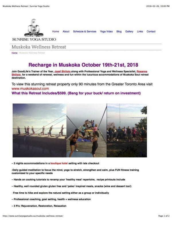 Muskoka Wellness Retreat | Sunrise Yoga Studio