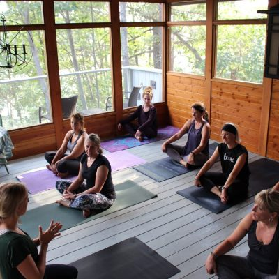 yoga in the muskoka room on the muskoka womens cycling & yoga retreat at Muskoka Soul on Lake Muskoka