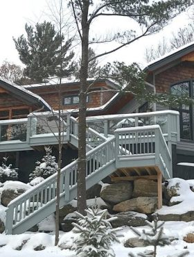 Winter wonderland from our two luxury cottage rentals in Gravenhurst, Ontatio, Canada
