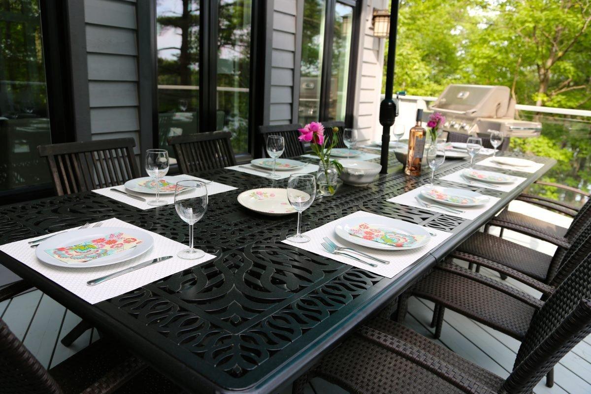 Dine deck side & BBQ at Muskoka Soul luxury cottage rentals ontatio
